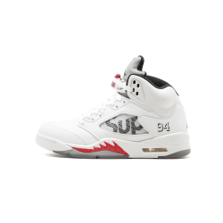 Air Jordan 5 Supreme White Black Varsity Red